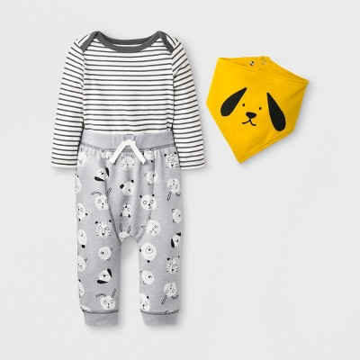 Baby Boys' 3pc Long Sleeve Bodysuit, Joggers and Bib Set - Cat & Jack™ Gray <br>0-3M