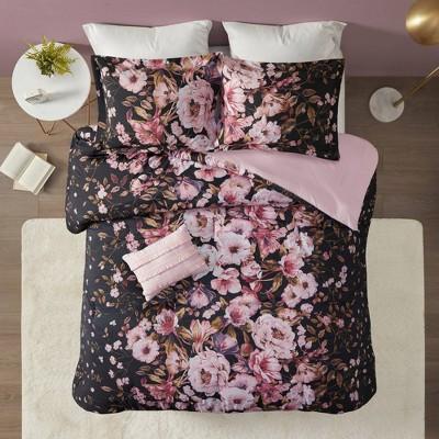 Jessica Floral Printed Comforter Set Black