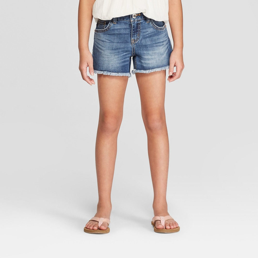 a73fa3137570b Girls Jean Shorts Cat Jack Medium Wash XL Blue