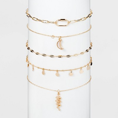 Moon and Snake Charm  Multi Choker Set 5pc - Wild Fable™ Gold