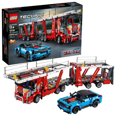 LEGO Technic Car Transporter Toy Truck and Trailer Building Set with Blue Car 42098
