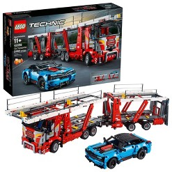 LEGO Technic Car Transporter 42098 Toy Truck and Trailer Building Set with Blue Car