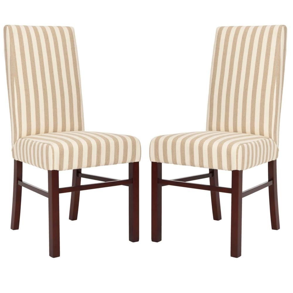 Set of 2 Dining Chairs Tan White - Safavieh