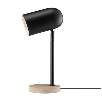 "15"" Portland Desk Lamp with Faux Wood Base Matte Black - Globe Electric"