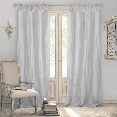 Jolie Semi Sheer Tie Top Window Curtain Panel   Elrene Home Fashions by Sheer Tie Top Window Curtain Panel