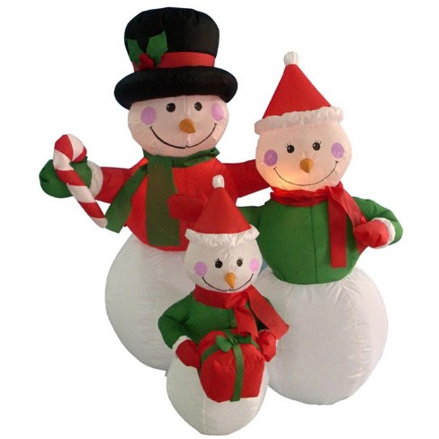 9d4486ade4388 Northlight 4  Inflatable Snowman Family Lighted Christmas Yard Art  Decoration