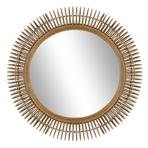 32 Large Round Natural Wicker Wall, Natural Carved Wood Round Mirror