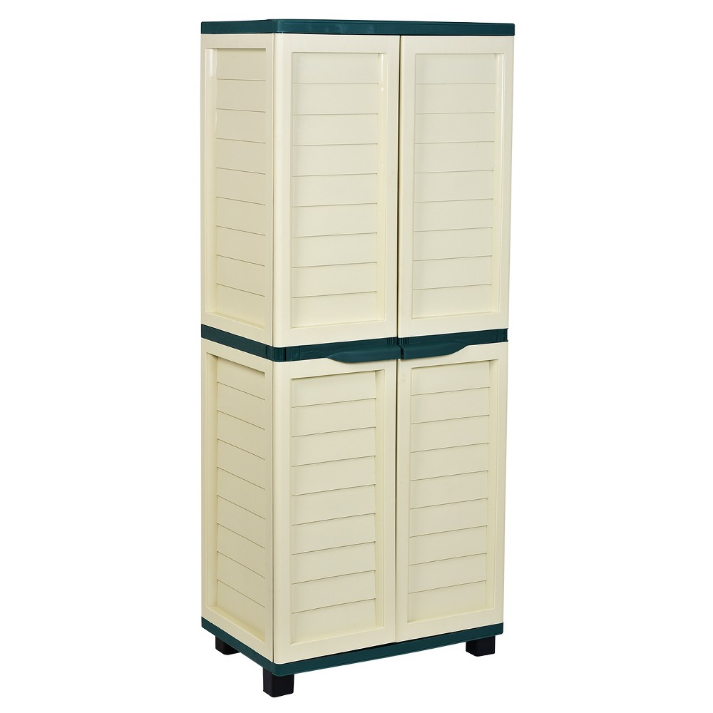 "Image of ""70.9"""" Cabinet With 4 Shelves - Beige/Green - Starplast"""
