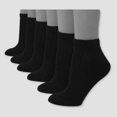 Hanes Premium 6 Pack Women's Cushioned Low Cut Socks - Black 8-12