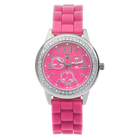 Women's Journee Collection Rhinestone Accented Colored Silicone Strap Watch - image 1 of 2