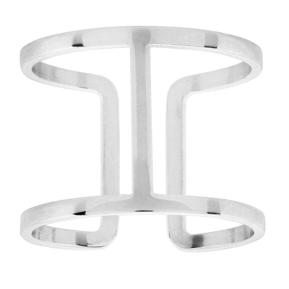 Elya Geometric Open Ring - Silver (Size 8)