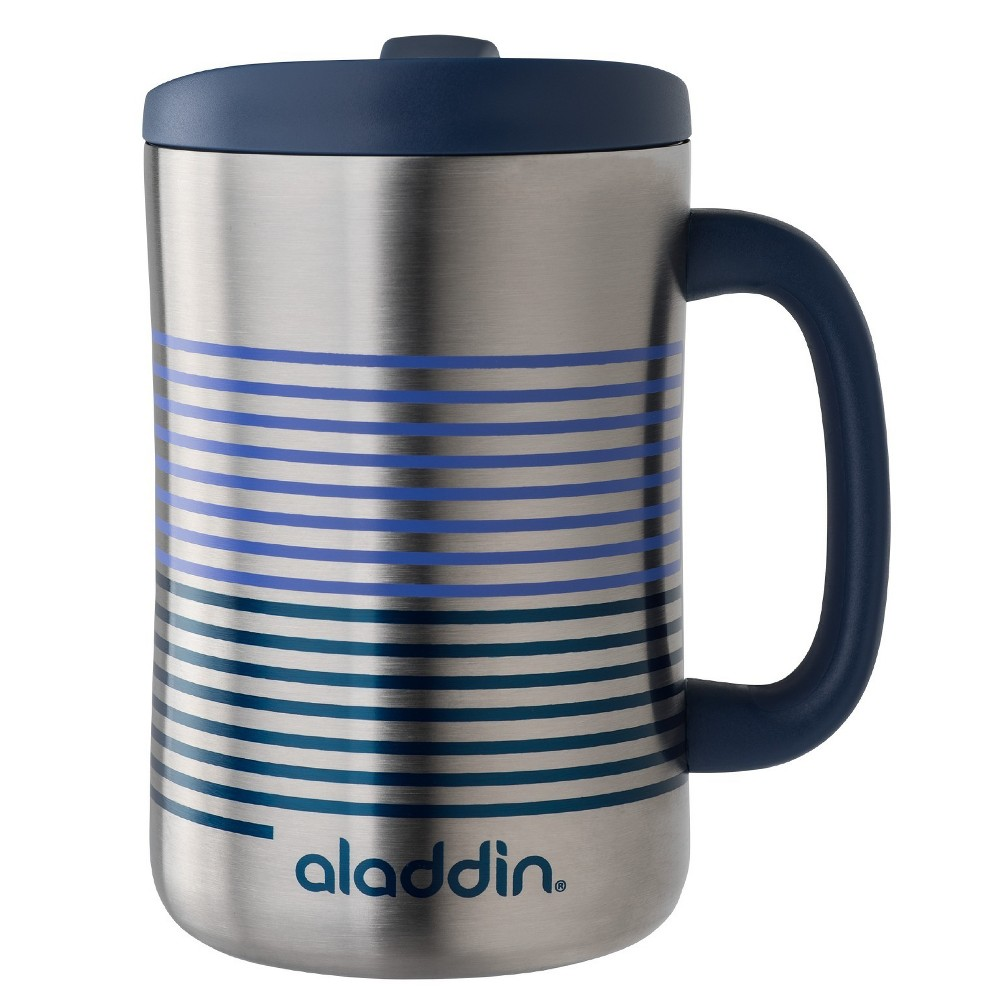 Image of Aladdin Stainless Steel Insulated Coffee Travel Mug 16oz - Silver/Blue
