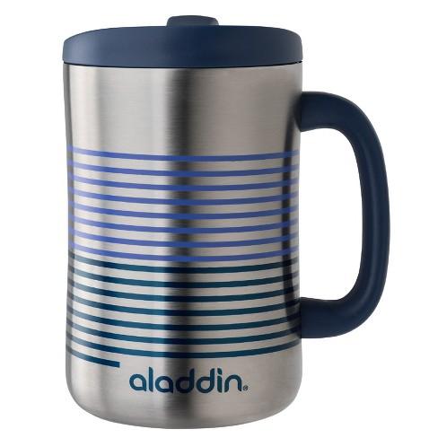 Aladdin Stainless Steel Insulated Coffee Travel Mug Oz Silver Blue