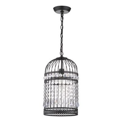 Ellison Bird Cage 10  Adjustable Pendant - Black - Safavieh