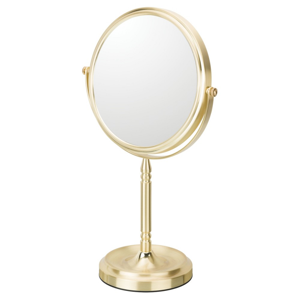 Check price Recessed Base Double-Sided Free Standing Magnified Makeup Bathroom Mirror Brushed Brass - Aptations
