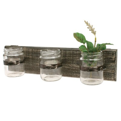 "15.7"" x 3.7"" Rustic Wooden Wall Decor with 3 Glass Jars Worn White/Brown - Stonebriar Collection"