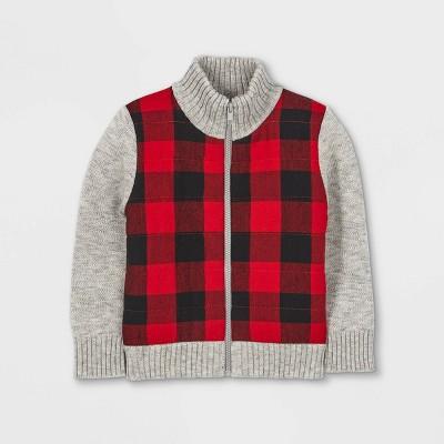 Toddler Boys' Buffalo Check Knit Zip-Up Sweater Cardigan - Cat & Jack™ Heather Gray