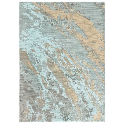 San Blas Distressed Abstract Rug Blue/Gray - image 1 of 4