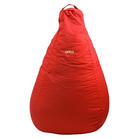 "Gold Medal Cotton ""Monogram"" Dorm/Gamer Tear Drop Denim Look Bean Bag with Pocket - Red - image 1 of 1"