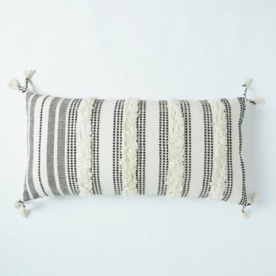 """20""""x40"""" Tufted Striped Throw Pillow Black/White - Patina Vie"""