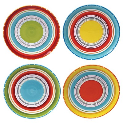 "Certified International Mariachi Earthenware Dinner Plates (10.75"") Orange - Set of 4"