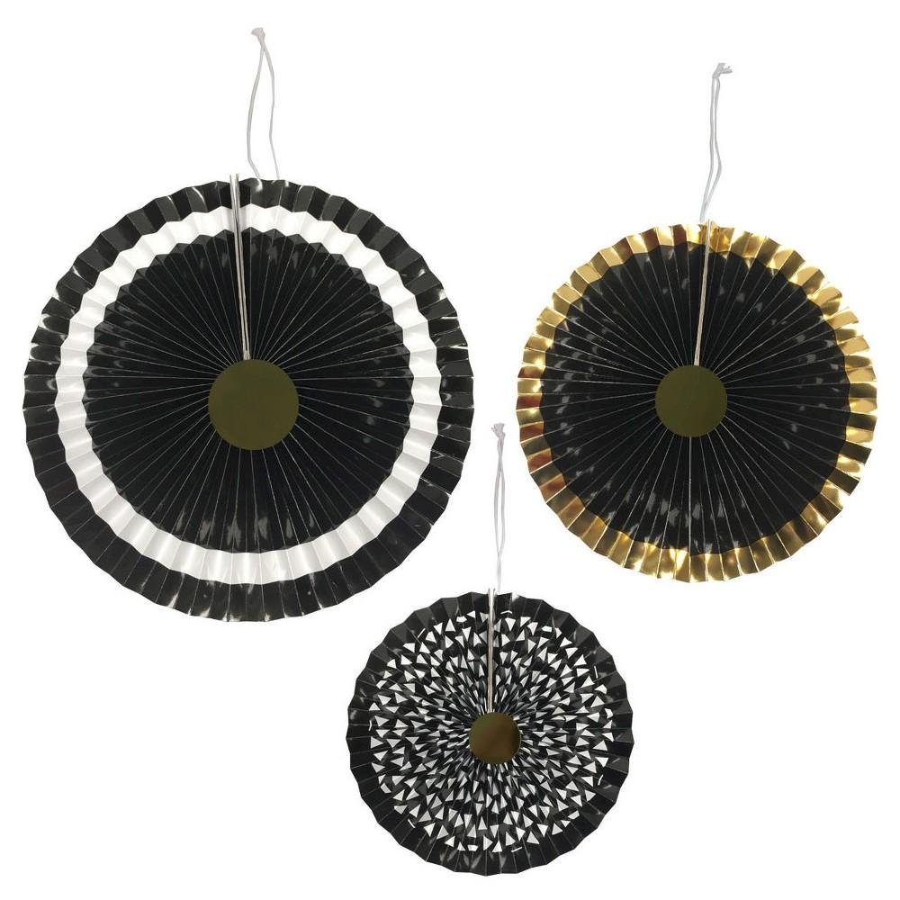 3ct Black Paper Fan - Spritz, Women's