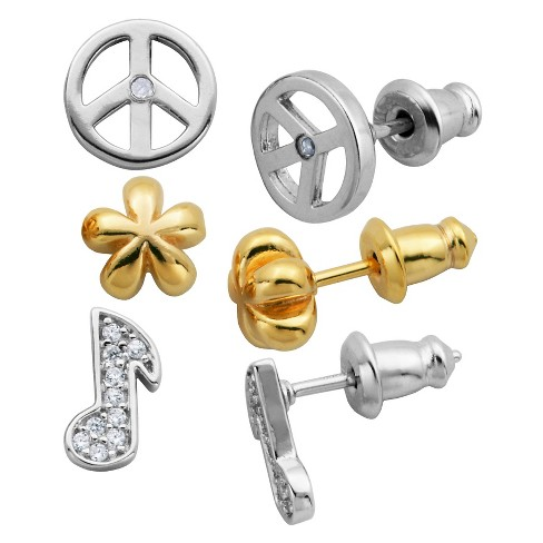 Lulabelle Girls' 3 Piece CZ Music Note, Flower, & Peace Stud Earring Set - image 1 of 4