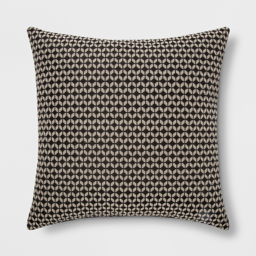 Woven Geo Square Throw Pillow Black/Neutral - Project 62
