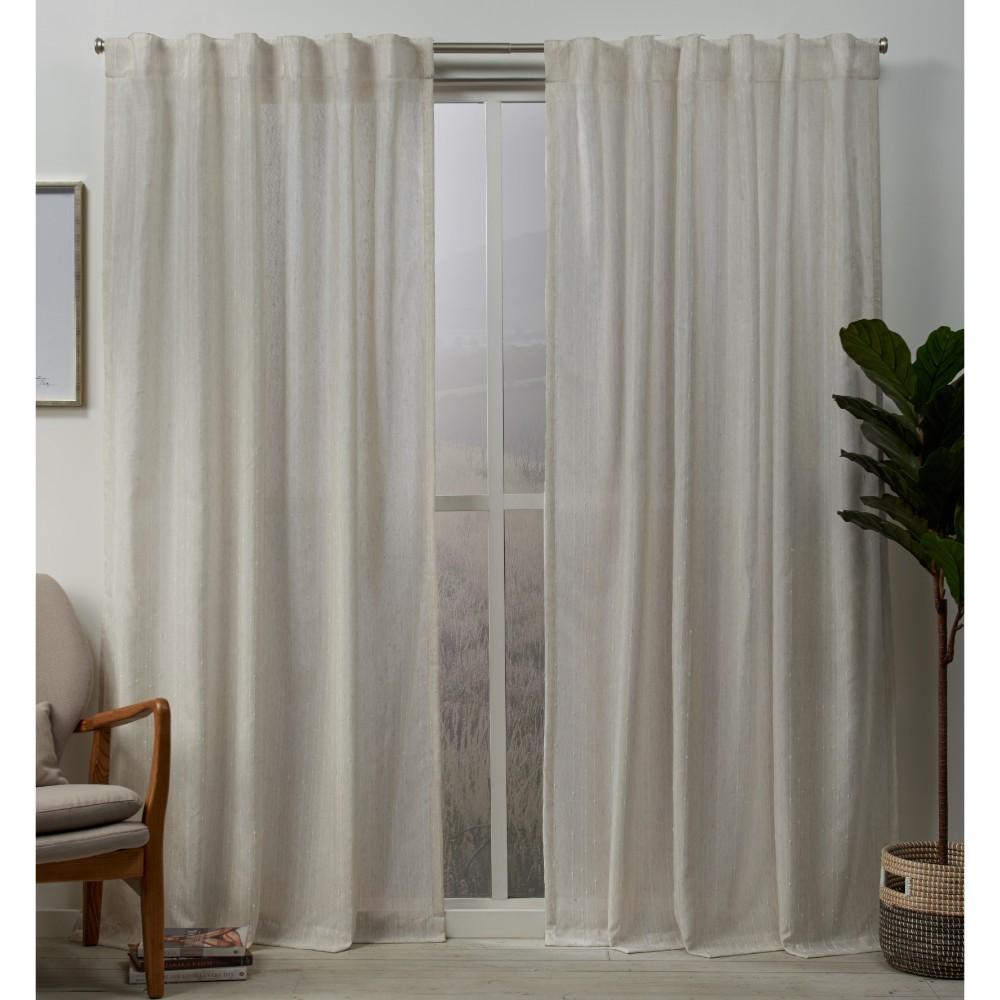 Set Of 2 96 34 X54 34 Muskoka Teardrop Slub Embellished Hidden Tab Top Curtain Panel Natural Exclusive Home