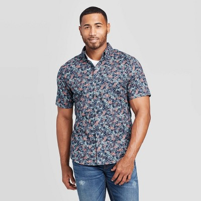 Men's Floral Print Slim Fit Short Sleeve Poplin Button-Down Shirt - Goodfellow & Co™ Blue XL