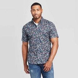 Men's Printed Slim Fit Short Sleeve Poplin Button-Down Shirt - Goodfellow & Co™