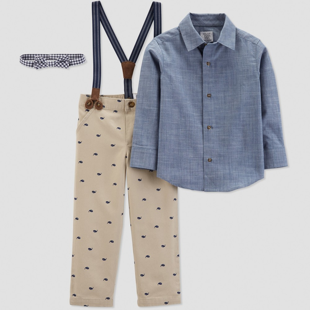 Toddler Boys' Whale Print with Suspenders Set - Just One You made by carter's Brown 2T