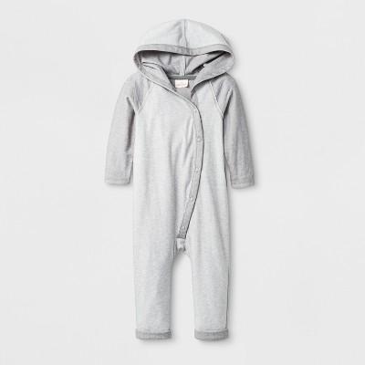 Baby Boys' Long Sleeve Hooded Romper - Cat & Jack™ Gray Newborn