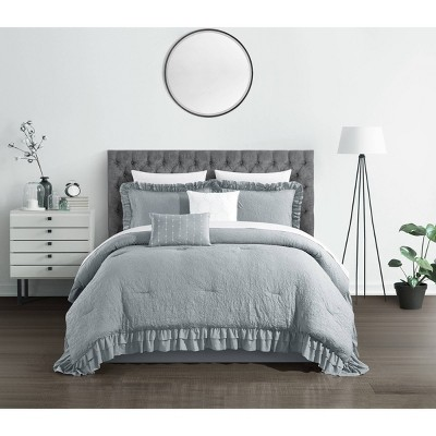 Queen 9pc Kaci Bed In a Bag Comforter Set Gray - Chic Home Design