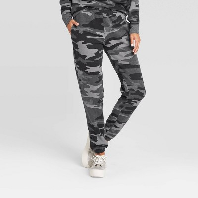 Women's Camo Print Jogger Pants - Gray