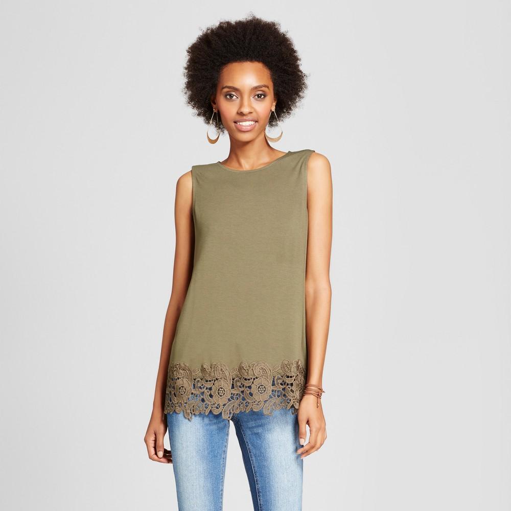 Women's Crochet-Trim Knit Tank - Xhilaration (Juniors') Olive (Green) Xxl