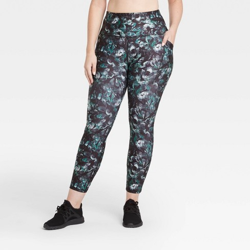 """Women's Printed Sculpted High-Rise 7/8 Leggings 25"""" - All in Motion™ Black - image 1 of 4"""