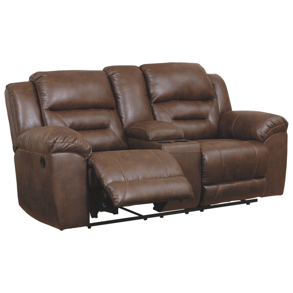 Stoneland Reclining Loveseat with Console Chocolate Brown - Signature Design by Ashley
