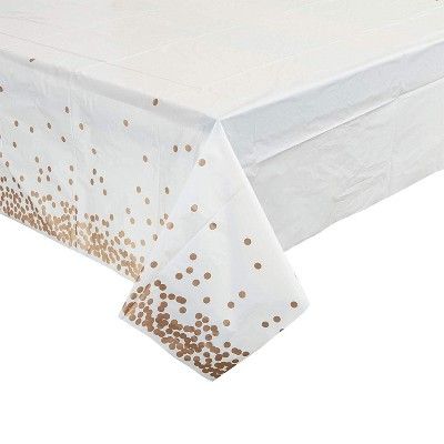 Blue Panda Rose Gold PE with Foil Print Table Cover (3 Pack) 54 x 108 inches