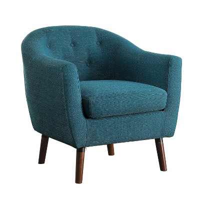 Homelegance 31 Inch Lucille Collection Classic Polyester Fabric Single Living Room Accent Barrel Chair, Blue