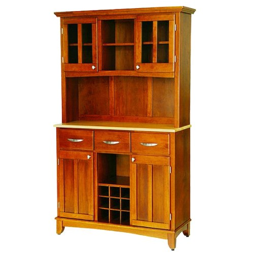 Wine Rack Buffet with 2 Door Hutch Wood/Oak/Natural - Home Styles