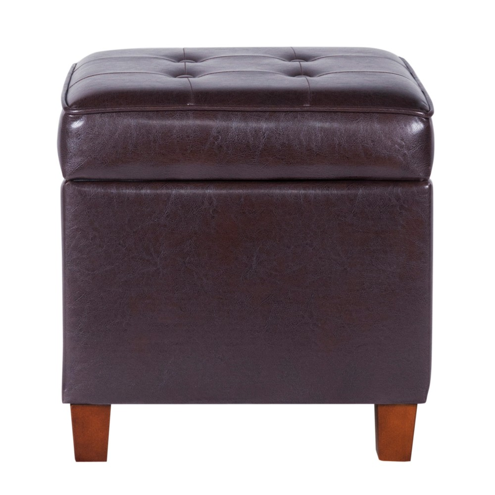 Square Tufted Faux Leather Storage Ottoman Espresso - Homepop was $79.99 now $59.99 (25.0% off)