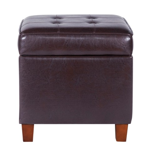 Brilliant Square Tufted Faux Leather Storage Ottoman Brown Homepop Machost Co Dining Chair Design Ideas Machostcouk
