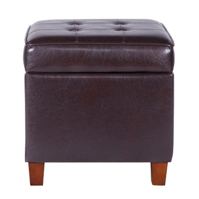 Beau Square Tufted Faux Leather Storage Ottoman Brown   Homepop