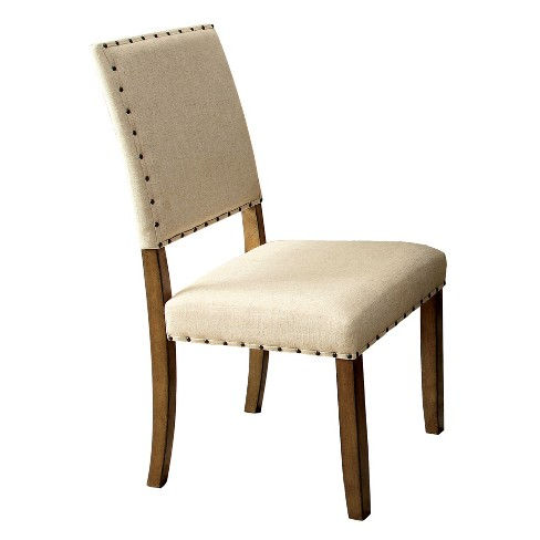 Sun Pine Nail Head Trim Fabric Padded Side Chair Wood Natural Tone