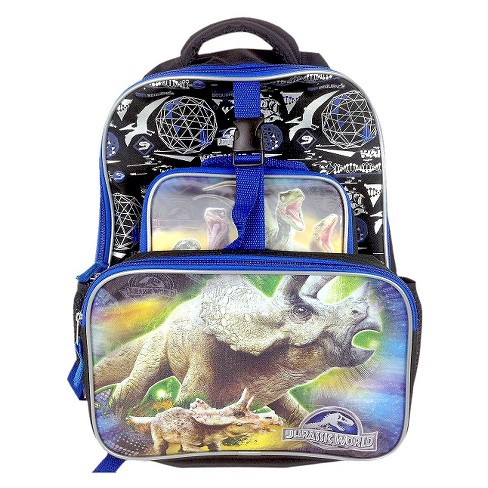 "Disney 16"" Deluxe Jurassic World Kids' Backpack with Front Cargo Pocket and Lunch Kit - Black/Blue - image 1 of 3"