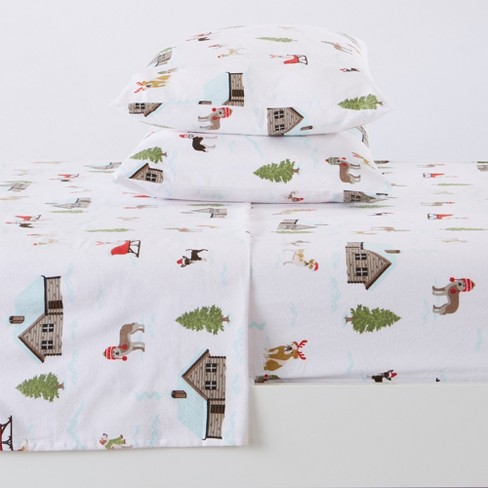 Great Bay Home 100 Cotton Flannel Holiday Printed Sheet Set California King Winter Pups Target
