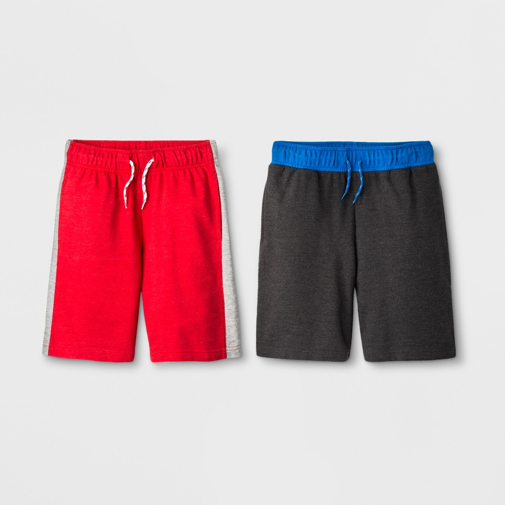 Image of Boys' 2pk Pull-On Shorts - Cat & Jack Charcoal/Red XS, Boy's, Gray