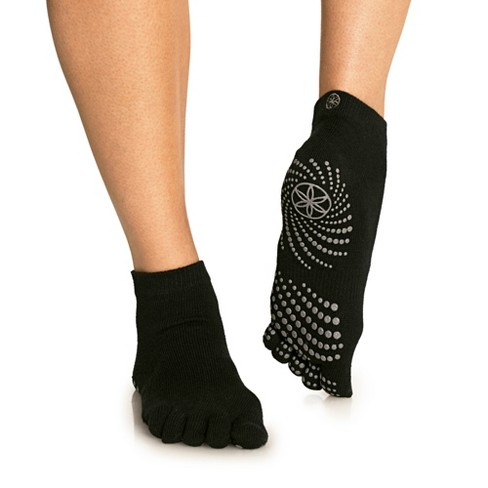 Gaiam No Slip Yoga Socks - Black/Gray M/L - image 1 of 4