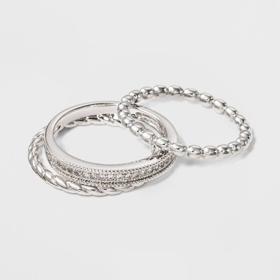Silver Plated 3 Band Ring Set With Cubic Zirconia - A New Day™ Silver/Clear